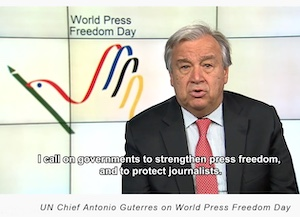 World Press Freedom Day Logo and UN Chief Antonio Guterres